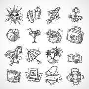 Summer vacation icon set - stock illustration