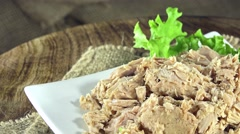 Portion of canned tuna (not loopable) Stock Footage