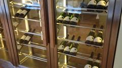 Modern wine cellar room with glass door Stock Footage