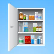 Medicine cabinet realistic Stock Illustration