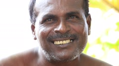 Portrait of fisherman in South Sri Lanka. Close up Stock Footage