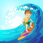 Surfer catching waves - stock illustration