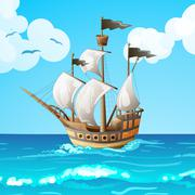 Ocean-going ship - stock illustration