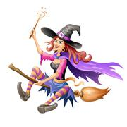 Red haired witch flying on a broomstick over on white background Stock Illustration