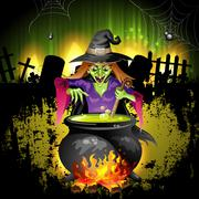 Witch preparing a potion Stock Illustration