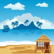 tropical island and seaside - stock illustration