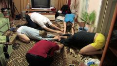 Group of young people doing exercises Stock Footage
