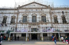 workers repair civic and municipal affairs bureaumore in macau - stock photo