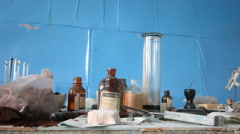 Chemistry at school in past equipment and reactants on a table Stock Footage