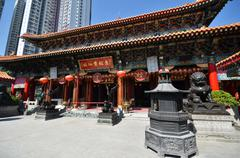 view of wong tai sin temple in hong kong - stock photo