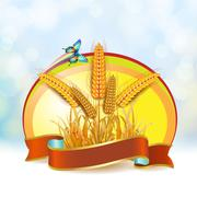 Wheat ears with ribbon Stock Illustration