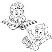 Funny cartoon children. Drawing style black on white. Stock Illustration