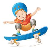 Cartoon skater boy flying through the air Stock Illustration