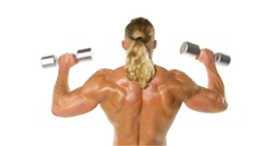 Stock Video Footage of Man makes exercises dumbbells. Sport, power, dumbbells, tension, exercise.