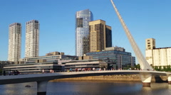 Argentina Buenos Aires Puerto Madero with famous bridge Stock Footage