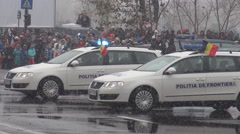 Police big cars, van, policemen masked undercover marching at parade, big honor - stock footage