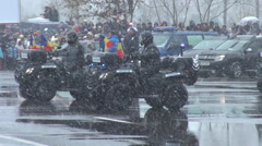 Army ground troops march at parade, ATV war machines, special military forces   - stock footage