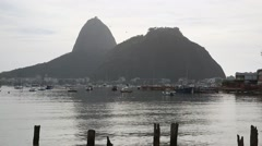The Sugarloaf Mountain from Botafogo Beach Stock Footage