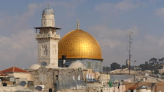 Jerusalem pictures. Golden dome. Al Aqsa Mosque. Wailing wall Stock Footage