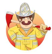 Fireman in uniform with ax. - stock illustration