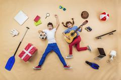 children are playing together - stock photo