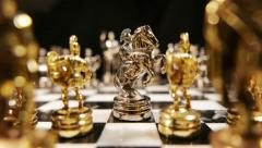 Chess, Silver Horse moved forward (Greek Style Chessboard) - stock footage
