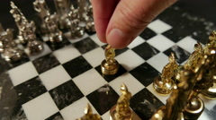 Chess, Gold Pawn Forward (Greek style) Stock Footage