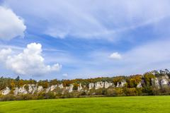 Rock formation twelve apostles in bavaria Stock Photos
