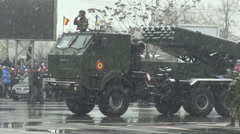 Rocket launcher war machines, military parade, assault army troops weapons view - stock footage
