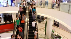 Thailand, Bangkok, 1 August 2014. Escalators of the Siam Paragon shopping center Stock Footage