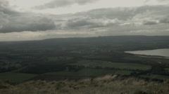 Conic Hill, windy view of farms, homes, and Loch Lomond, Highlands Stock Footage