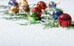 group of multi-colored christmas ornaments - stock photo