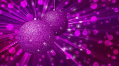 Christmas balls rotate with stars and purple bokeh, 1080p Stock Footage