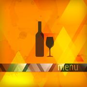 Menu design with bottle and wineglass sign Stock Illustration