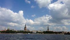 Latvian capital Riga panorama time lapse Stock Footage