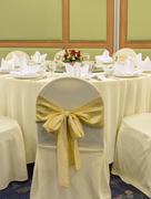 Wedding chairs with yellow ribbon Stock Photos