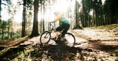 Mountain Biker Riding On Forest Track in slow motion Stock Footage