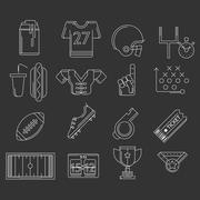 American football outline vector icons Stock Illustration