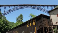 Train Runs Under Worlds Second Largest Single Arch Bridge Stock Footage
