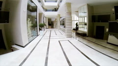 Hotel hall panoramic shot 5 star Stock Footage