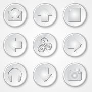 Stock Illustration of Vector abstract white round paper icon multimedia set