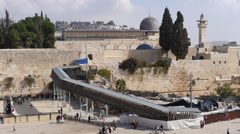 Jerusalem pictures. Golden dome. Al Aqsa Mosque. Wailing wall - stock footage