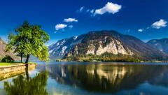 Mountain lake in Hallstatt in autumn 4k timelapse Stock Footage
