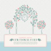 Vintage card with arch and roses Stock Illustration
