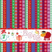 New year 2015 striped greeting card Stock Illustration