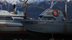 Alaska Fishing Boats Pan Right - stock footage