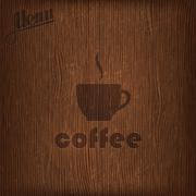 Restaurant menu design with coffee cup on wood background Stock Illustration