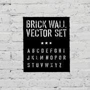 brick traced texture, stencil alphabet and grunge rectangle. three in one. - stock illustration