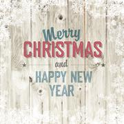 merry christmas greeting on blond wooden background - stock illustration