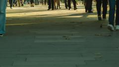 Anonym crowd, feet at sunset Stock Footage